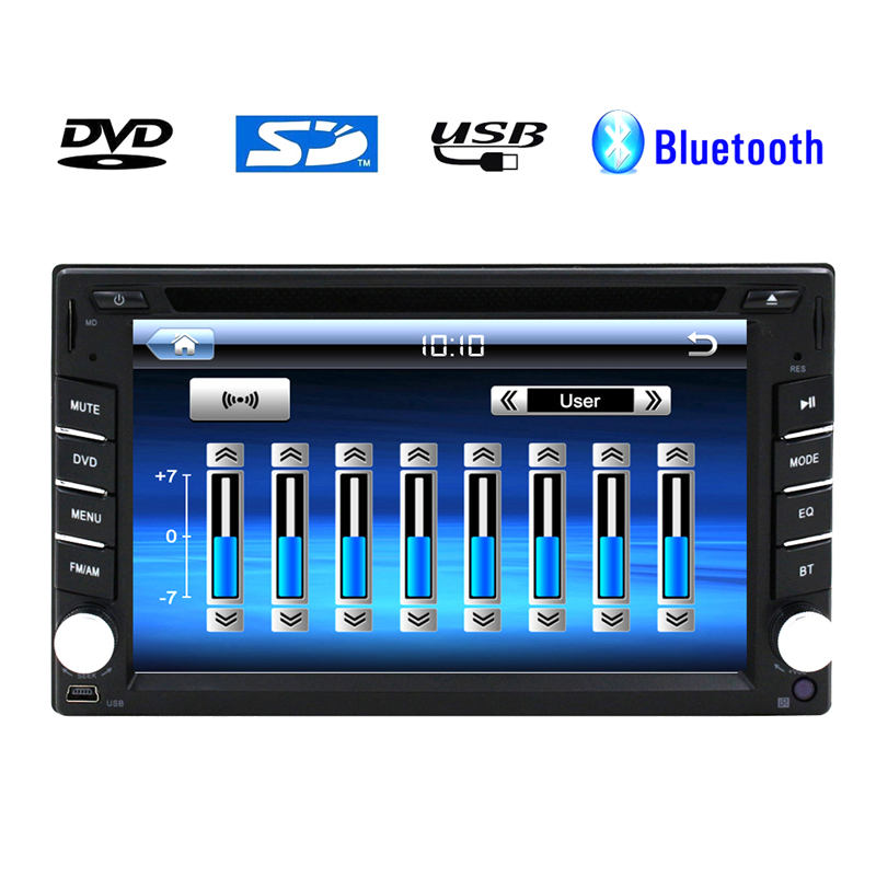 Universal 6.2'' Touch Screen 2din Car Radio Bluetooth DVD CD Video Player double 2 din Car Audio Stereo BT+USB+SD+fm am/RDS(China (Mainland))