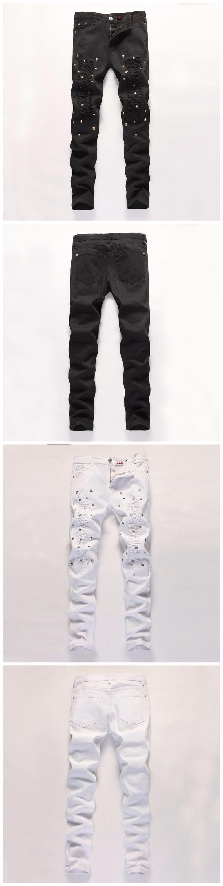 Rivet Jeans Homme Ripped Hip Hop Jeggings Holes Runway Joggers Pantalones Vaqueros Hombre White Black Denim Pants Slim Trousers