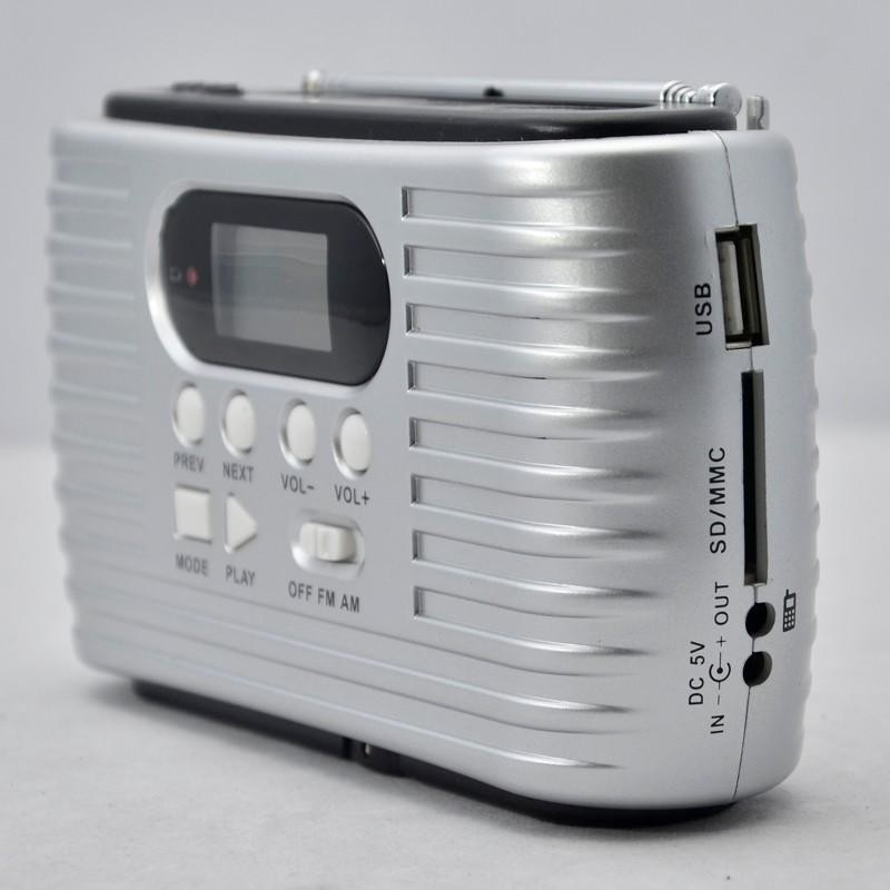 Mini portable solar radio with LED rechargeable torch phone charger support USB disk SD card