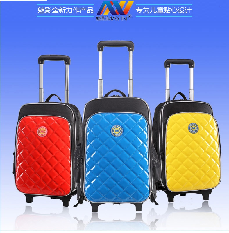 Fasion Easily portable 3 Colors EVA+PU Children's bag Wheels Student School Bags Trolley Case Kids Travel Bags(China (Mainland))