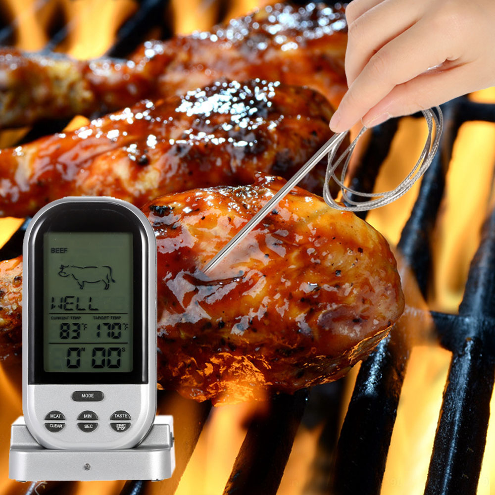LCD Wireless Barbecue Timer Food Cooking Thermometer Digital Probe Meat Thermometer BBQ Temperature Gauge Kitchen Cooking Tools(China (Mainland))
