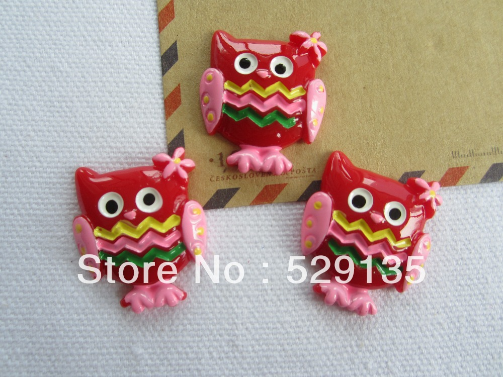 Free Shipping! Min. order is $10 (mix order), Resin Kawaii Red Owl, Resin Flatback Cabochons for Hair Bow Center, DIY (24*28mm)(China (Mainland))