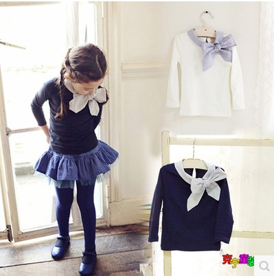 Spring 2016 New Girls Big Bow Collar T-shirt Kids Girl Blouse Shirts Tops