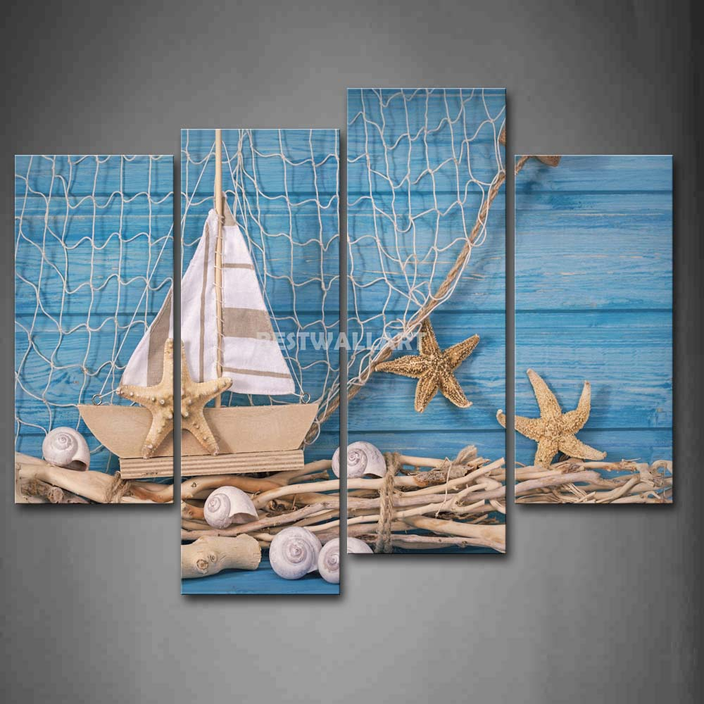 sailing model and wood 4 piece painting on canvas wall art. Black Bedroom Furniture Sets. Home Design Ideas