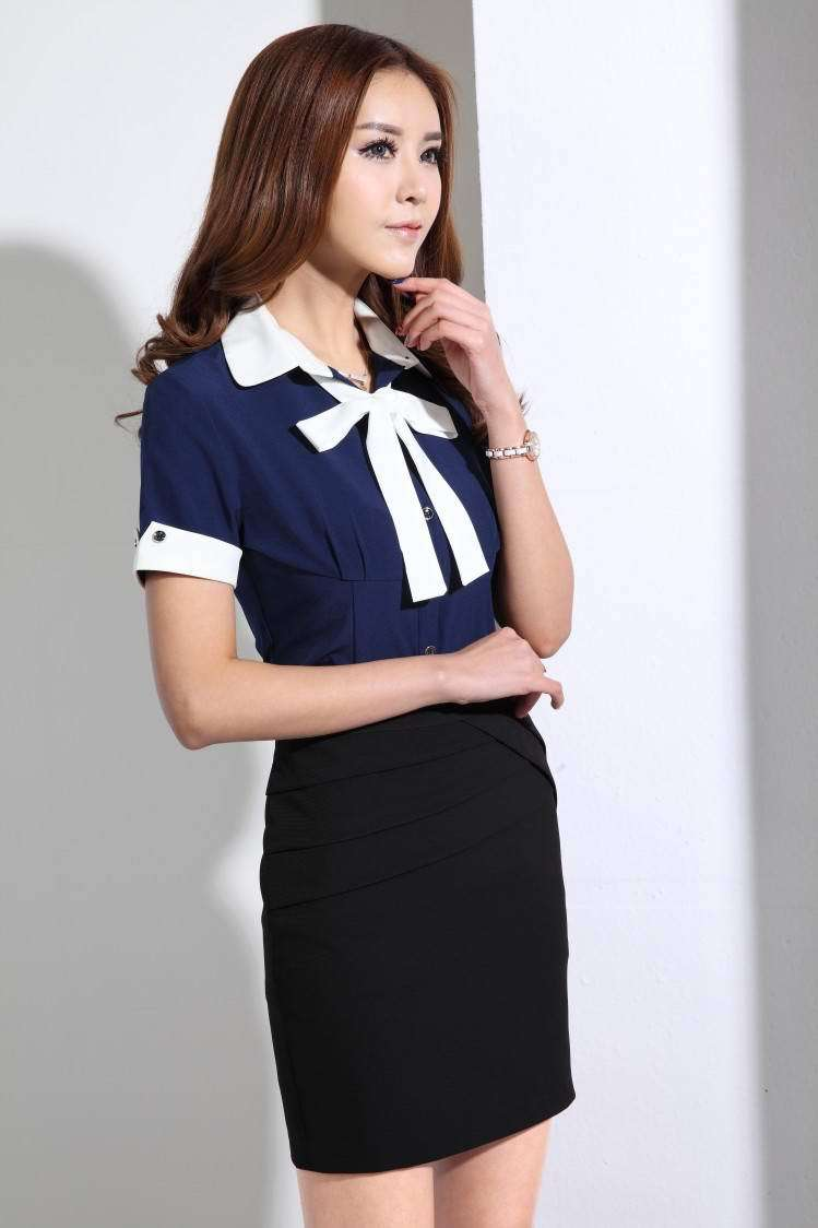 Popular Spring Summer Formal Gray Blazer Women Elegant Skirts Suits Work Wear