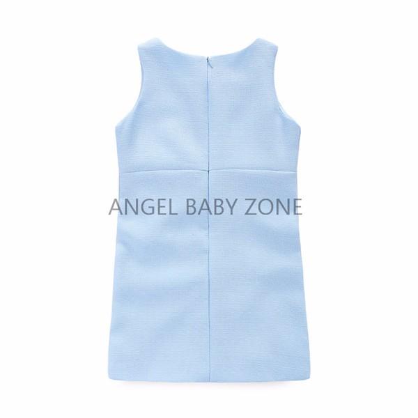 Скидки на Голубой животное рисунок элегантный Styple платье ребенка ну вечеринку принцесса одежды детей синее платье от 2 - 7 лет