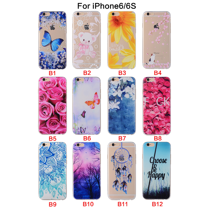 Soft Silicone phone cases cover For Apple iPhone 6 6G iphone6 4.7 inch 6S iphone6S Cases Covers phone Back Housing Shell Bags(China (Mainland))