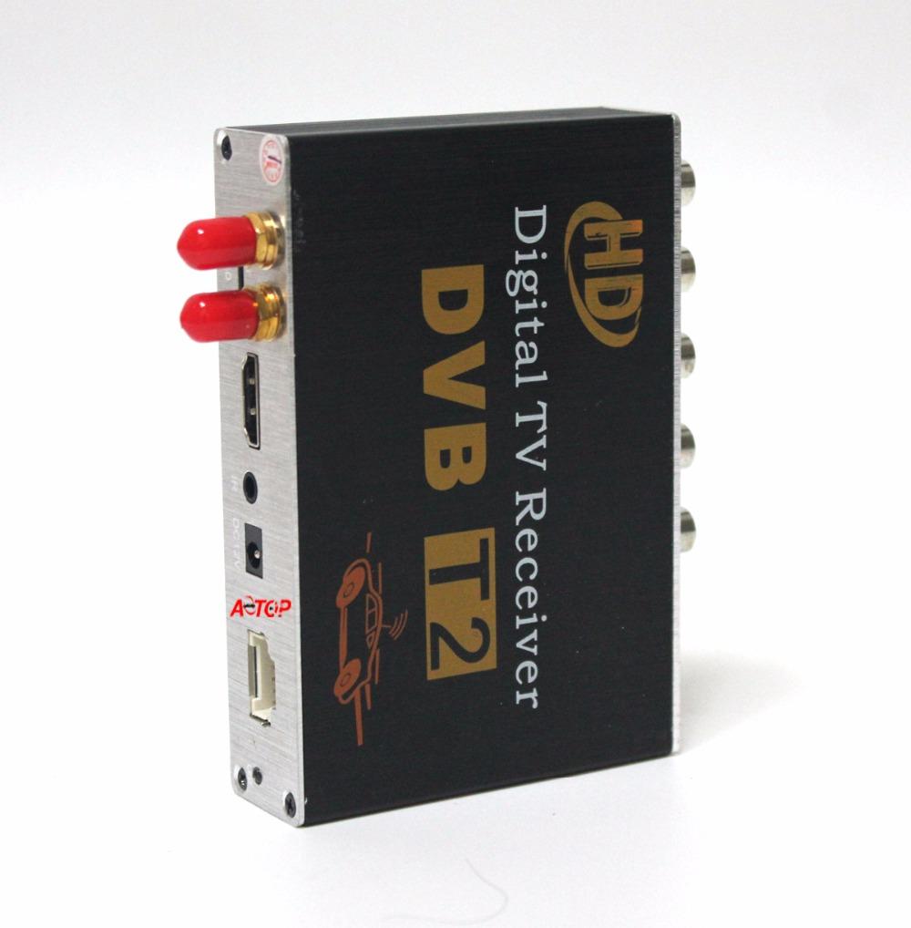 Car DVB-T2 receiver with Double Tuner Car Digital TV receiver Auto Dual Tuner H.264 MPEG4 MPEG2 Digital SET TOP BOX 1080P HDMI(Hong Kong)
