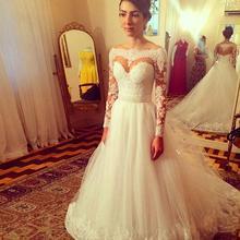 Buy Romantic Vestido De Noiva 2017 Lace Appliques Long Sleeve Line Wedding Dresses Tulle Wedding Bridal Gowns Robe De Mariage GA2 for $157.24 in AliExpress store
