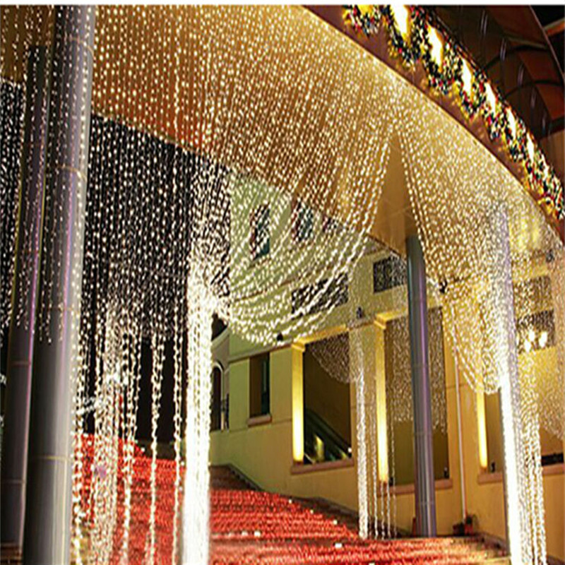 3x3M 300LED Icicle Curtain Lights String Light Wedding Party Xmas ...