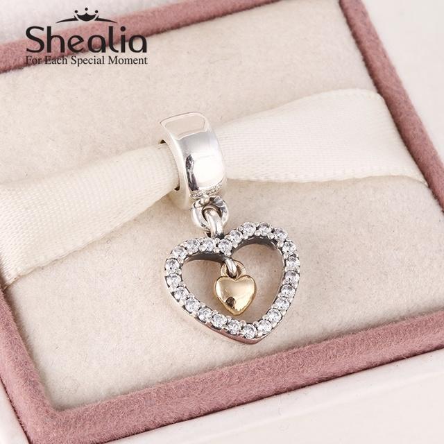 2015 новый стерлингового серебра 925 вымощают в форме сердца мотаться подвески с 14 К твердое золото в форме сердца для женщин известный бренд diy браслеты SH0596