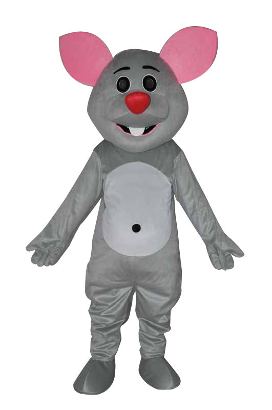Hot selling!New cute pink ear little Grey mouse Cartoon Fancy Dress Suit Outfit Animal Mascot Costume - Sam's World store