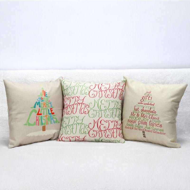 2015 Merry Christmas Print Cushion Linen 18*18'' Home Decor Decorative Cushions