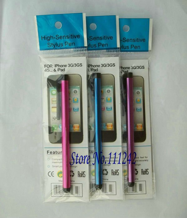 Free shipping Touch screen stylus metal capacitive pen with retail packaging For iPad 2 iPhone 4S 4 3GS