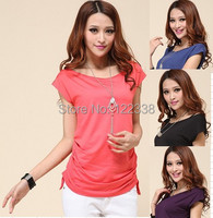 2015 free shipping ladies fashion candy color summer style female T-shirt shirt sell like hot cakes  top
