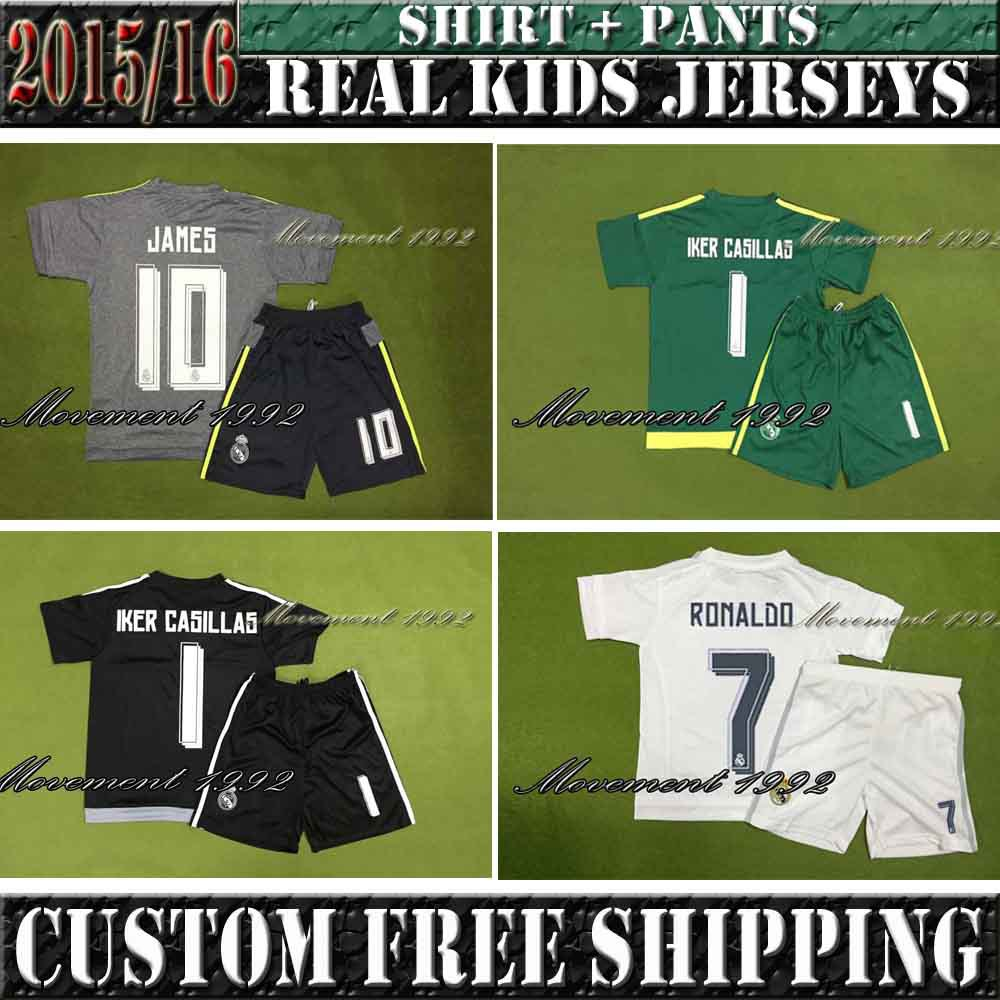 Stock! 15/16 Real Madrid home white children in 2015 Ronaldo to Real Madrid at home, James Cross Thailand best quality.(China (Mainland))
