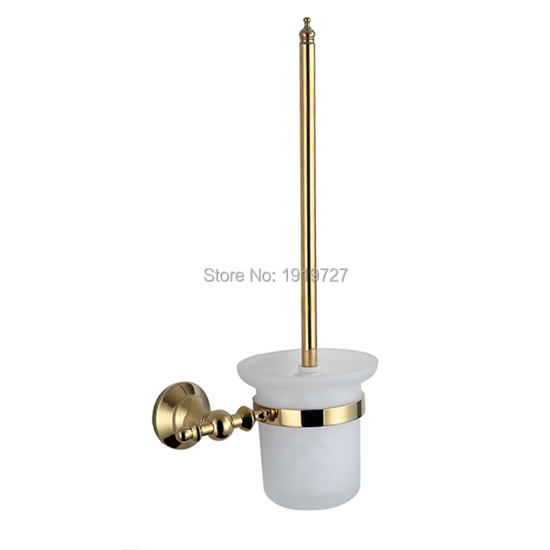 Wall mounted brass gold toilet brush holder ceramic cup for Gold toilet accessories