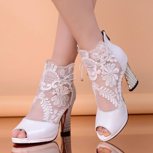 Открытым Носком Летние Натуральная Кожа Женщины Вырез Ботинки на Шнурках Peep носок ...