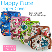 Happy flute onesize diaper cover,one-piece pack,double leaking guards, waterproof and breathable,  fit 3-15kg,without inserts
