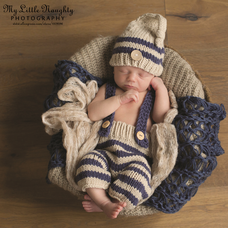 New 2015 Newborn baby crochet knitted handmade infant 0-3month blue striped photography props disfraz bebe atrezzo fotografia(China (Mainland))