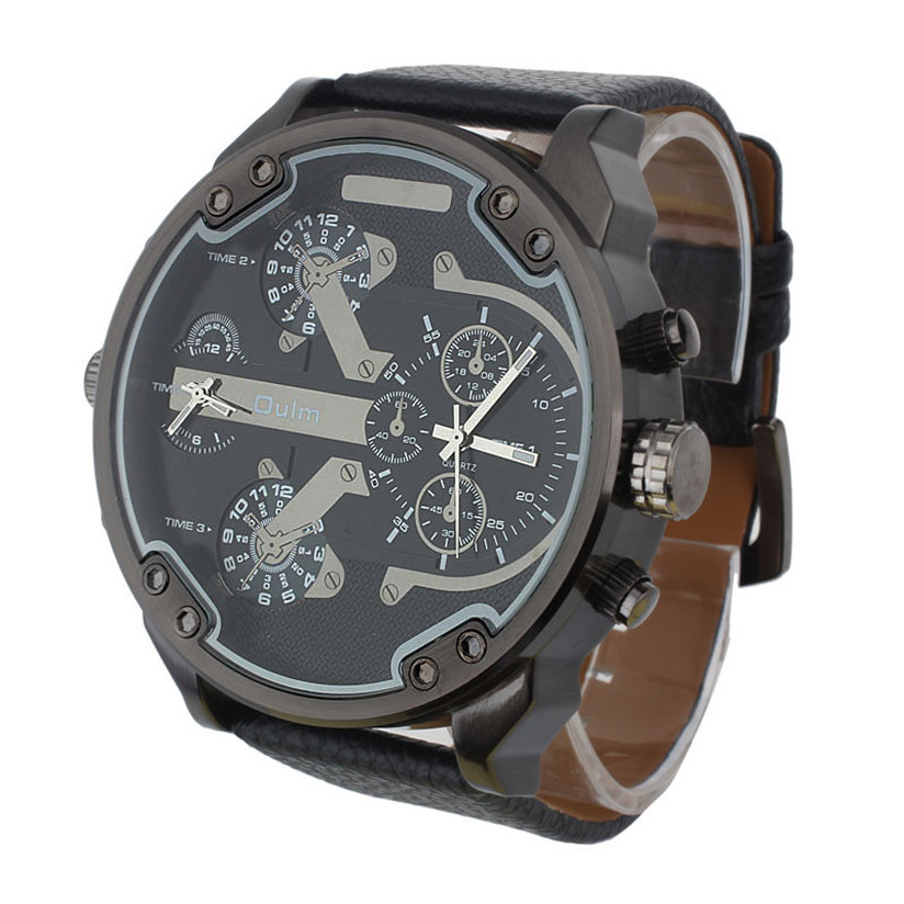 Hot Marketing Luxury Military Army Dual Time Quartz Large Dial Wrist Watch Oulm Aug5(China (Mainland))