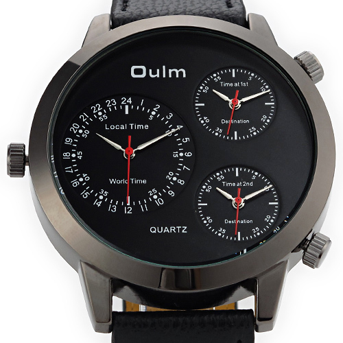 Oulm 9630 Three Movement Quratz Watch 3 working sub dials display 3 different time Rubber Leather