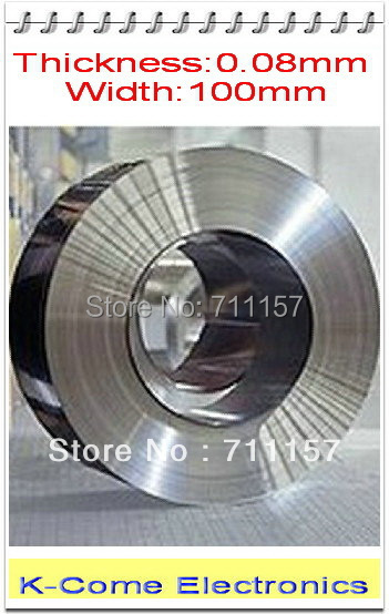 0.08mm Thickness 100mm Width 5M/lot Stainless Steel Sheet Plate Leaf Spring Stainless Steel Foil The Thin Tape Free Shipping(China (Mainland))