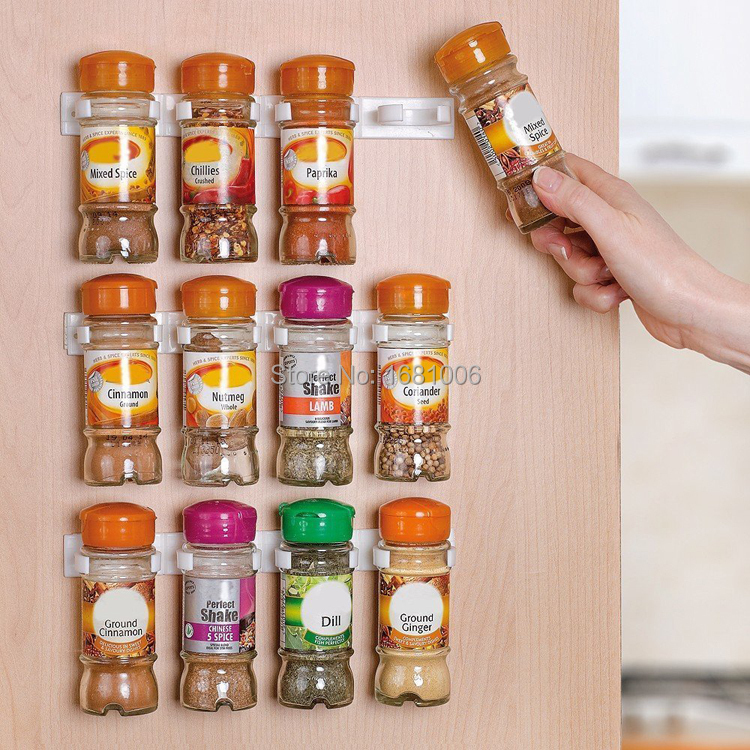 Spice wall Rack Storage,plastic Kitchen organizer,12 Cabinet Door hooks,6 screw to paste on wall 3PCS/SET S002(China (Mainland))