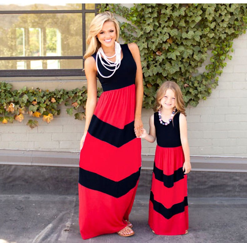 Summer Style Family Matching Outfits mother daughter dresses Contrast Color blue A-Line Dress Ankle-Length mother & kids clothes