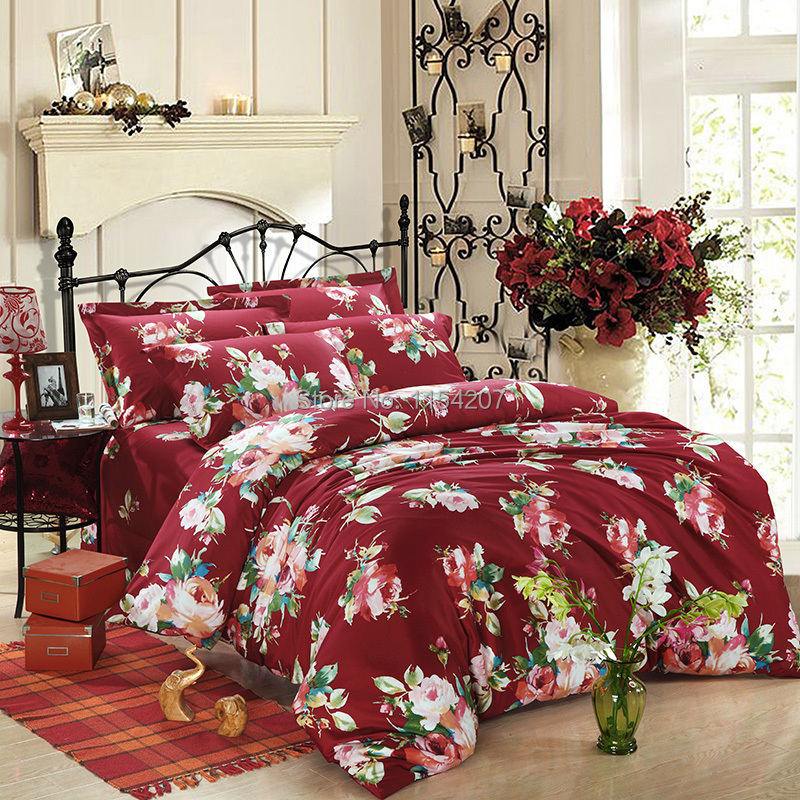 luxury style 4pcs 100 cotton beautiful floral adult
