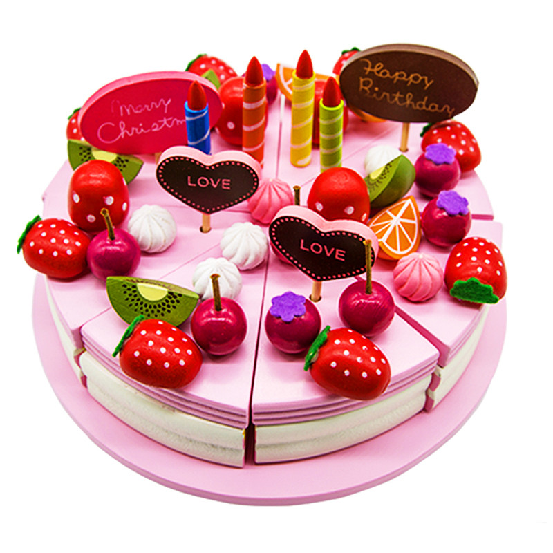 Fruit Cake Decoration Dress Up : Baby Toys Mother Garden Strawberry Simulation Wooden Decoration Cake Set Fruit Chocolate Cream ...