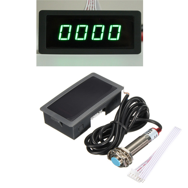 2016 Hot Sale 4 Digital Green LED Tachometer RPM Speed Meter+Proximity Switch Sensor 12V(China (Mainland))