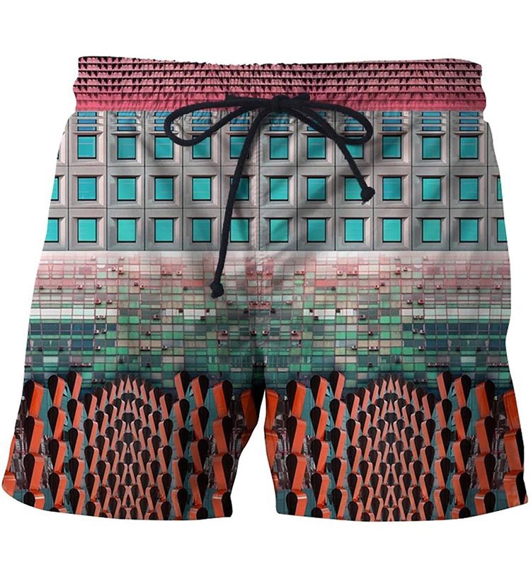 Archi Building Beach Shorts Mens Vacation Casual Short Pants Hip Hop Streetwear Sport Board Shorts Hipster 3D Shorts(China (Mainland))