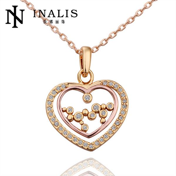 N576 New Band Women Necklace Heart 18K Gold Plated Austrian Crystal Pendant Necklace Jewlery Vintage Statement