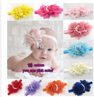 1Pcs 12 Colors pearl flower hair accessories Baby Headbands Elastic Infant Baby Girl Hair Bandage Hairband(China (Mainland))