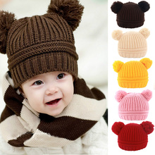 baby hat 2015 Korean New Fashion Baby Girls Boys Kids Children Dual Ball Knit Sweater Cap Hats Winter Warm Knitted 5 colors