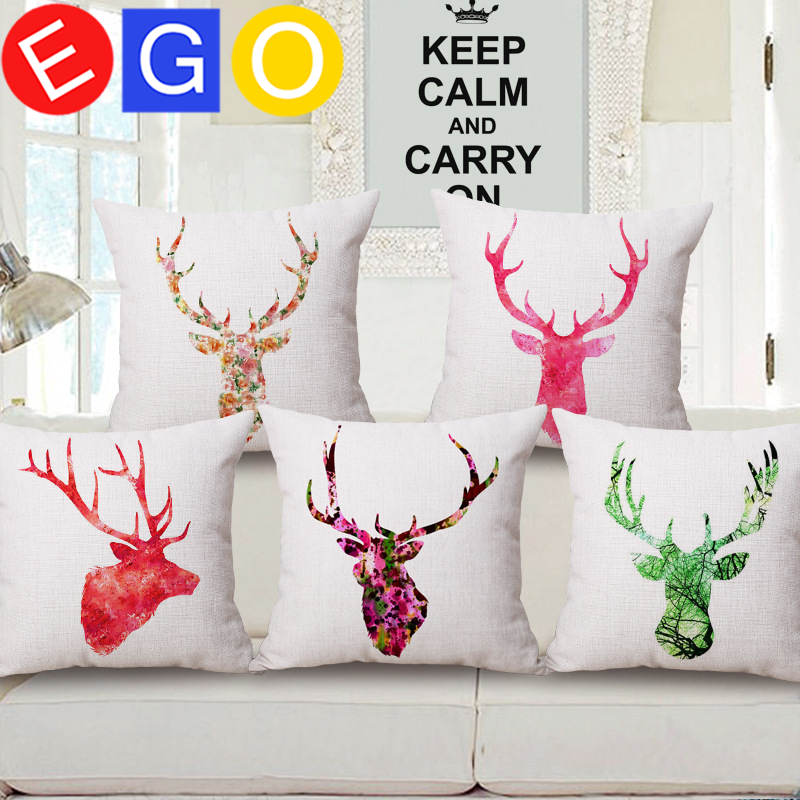 New Hot simple Watercolor colourful Deer Head youtube decorative linen cotton pillowslip pillow cases pillowcase home bedroom(China (Mainland))