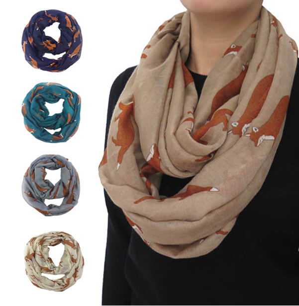 Fashion Animal Fox Print Infinity Loop Snood Scarf Scarves Women's Gift Accessories, Free Shipping(China (Mainland))