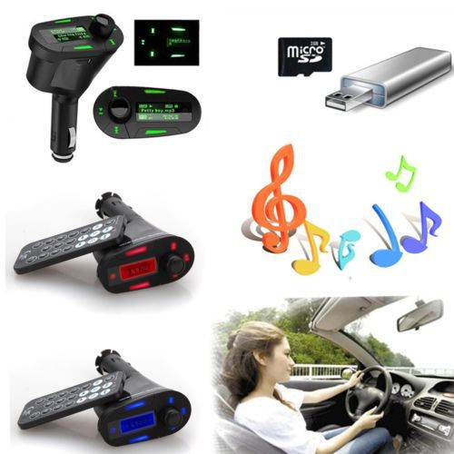 Red/Blue/Green LCD Car Kit MP3 Music Player Car cigarette charger Wireless fm transmitter Modulator fo iPhone Samsung USB/SD/MMC(China (Mainland))