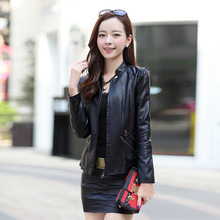 2016 Time-limited Tassel Spring New Korean Collar Pu Leather Jacket Female Fashion Big Yards Paragraph Small Coat Free Shipping