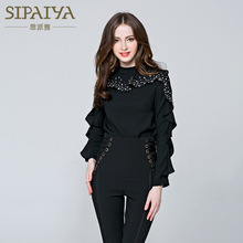 Scarlett Paiya Europe 2016 new spring coat Beaded shirt sleeved Turtleneck Shirt all-match slim women