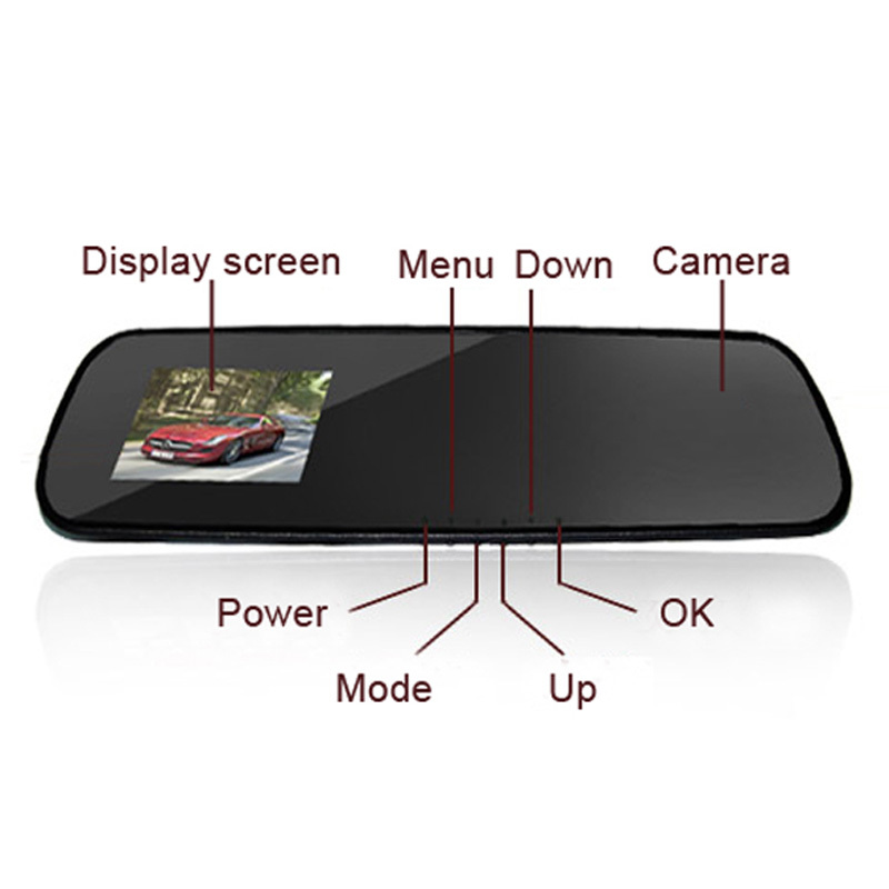 2 7 Inch HD Dash Cam Video Recorder Rearview Mirror Car DVR Camera Night Vision Motion