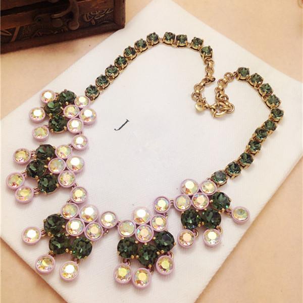 J green crystal diamond necklace elegant medium-long necklace luxurious <br><br>Aliexpress