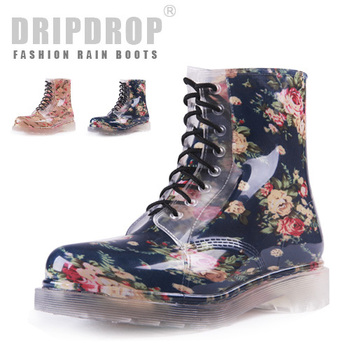 freeshipping ! Transparent crystal jelly women's rainboots martin rain boots black floral water shoes