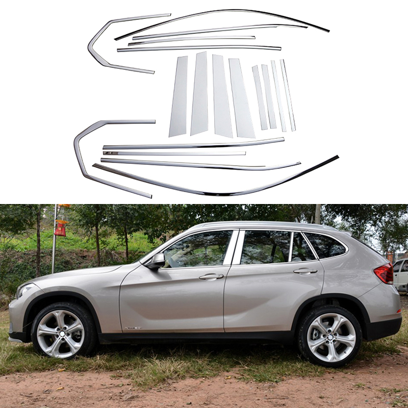Auto Stainless Steel Full Window Trim Decoration Strips For BMW X1 2010 2011 2012 2013 2014 2015 Car Styling