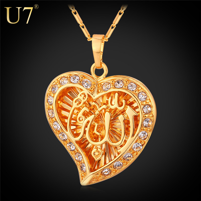 Classic Allah Pendant Necklace Wholesale Platinum /18K Real Gold Plated Crystal Heart Shape Arabic Jewelry Muslim 2015 New P558