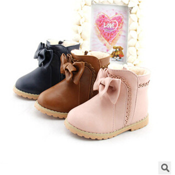 new 2014 snow boots baby boots boot children shoes winter shoes for girls Free Shipping Bowknot With velvet Side zipper 1-807