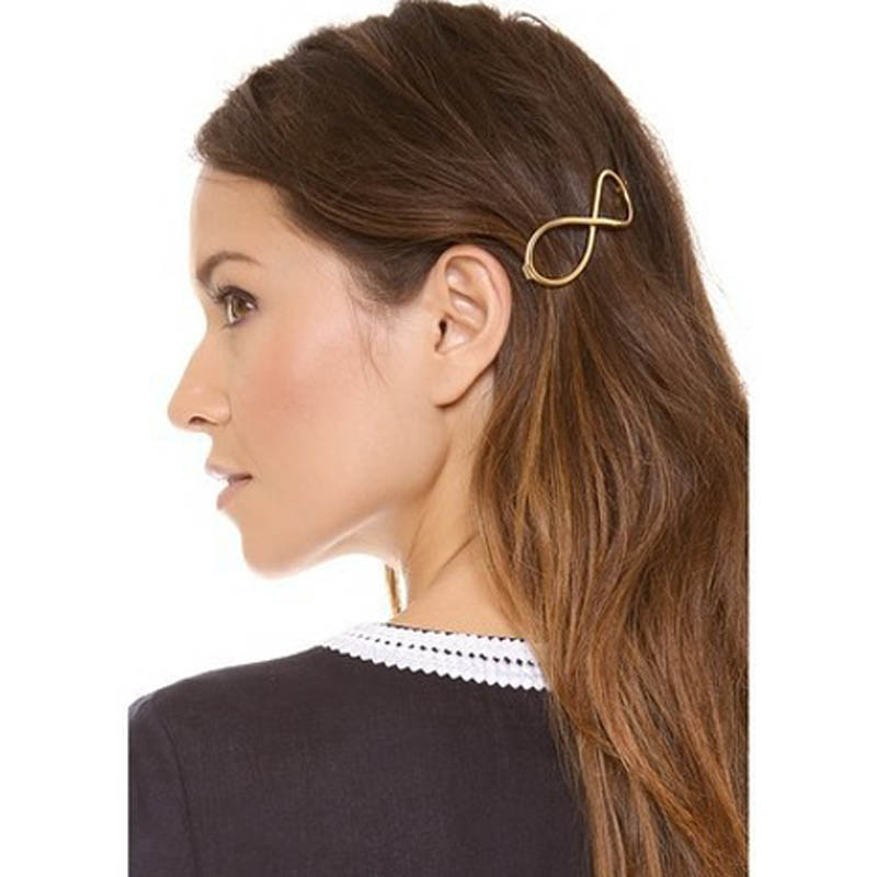 Women Hair Accessories Fashion Hairpin Women Positive Infinity Gold Color Barrette Hair Clip #2415(China (Mainland))