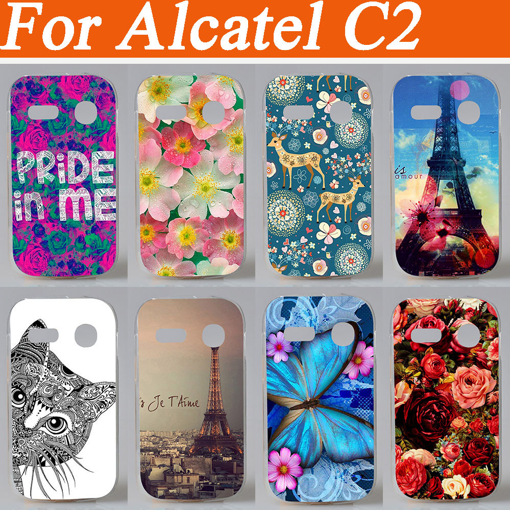 14 patterns colored animals flowers eiffel tower design Cover case for Alcatel One Touch POP C2 4032 4032A 4032D 4032E 4032X(China (Mainland))