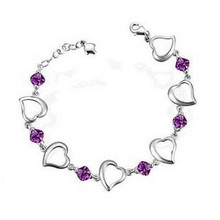 2014 New 100% Sterling Silver 925 Jewelry Heart-shaped Amethyst Bracelets & Bangles Fine Jewelry Free Shipping(China (Mainland))